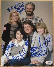 Family Ties Cast 5x signed 8x10 photo PSA/DNA Michael J Fox Gross Bateman ++
