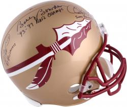 Fanatics Authentic Autographed Bobby Bowden, Chris Weinke and Charlie Ward Florida State Seminoles (FSU) Riddell Replica Helmet with Multiple Inscriptions