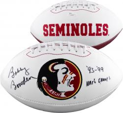 Fanatics Authentic Autographed Bobby Bowden, Chris Weinke and Charlie Ward Florida State Seminoles (FSU) White Panel Football with Multiple Inscriptions