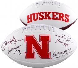 Fanatics Authentic Autographed Eric Crouch, Mike Rozier, Johnny Rodgers Nebraska Huskers Heisman Winners White Panel Football with Heisman Inscriptions