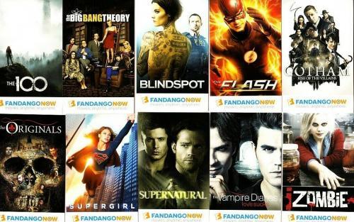 Fandango Now 2016 SDCC promo WB 10 card lot Big Bang Theory Flash Supernatural