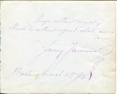 Fanny Janauschek Early Stage Theater Shakespearean Actor Signed Autograph Note