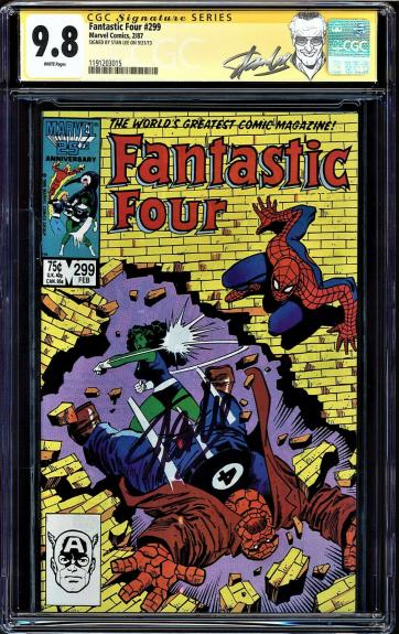 Fantastic Four #299 Cgc 9.8 White Ss Stan Lee Single Highest Graded #1191203015