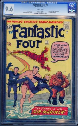 Fantastic Four #4 Cgc 9.6 W *highest Graded* 1st Sa App Sub-mariner #0096243004