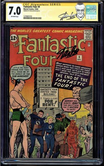 Fantastic Four #9 Cgc 7.0 Ss Stan Lee 3rd Silver Age App Sub-mariner 1270001010
