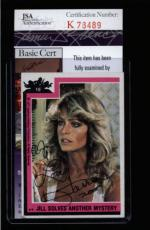 Farrah Fawcett Signed 1977 Topps Charlies Angels Card #18 Jsa #k78489