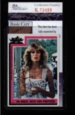 Farrah Fawcett Signed 1977 Topps Charlies Angels Card #27 Jsa #k78488