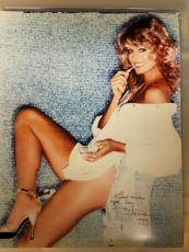 FARRAH FAWCETT SIGNED AUTOGRAPHED SEXY COLOR 11x14 PHOTO JSA COA SPENCE