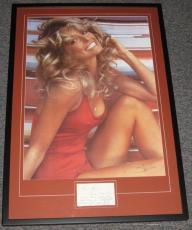 Farrah Fawcett Swimsuit Signed Framed 24x35 Note & Poster Display JSA