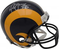 Marshall Faulk St. Louis Rams Autographed Throwback Riddell Mini Helmet with Silver Ink - Mounted Memories