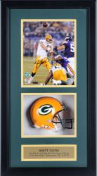 "Brett Favre Green Bay Packers Autographed 421st TD Pass 8"" x 10"" Mini Helmet Shadow Box - Mounted Memories"