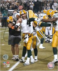 "Brett Favre Green Bay Packers Autographed 8"" x 10"" Carrying Greg Jennings Photograph"