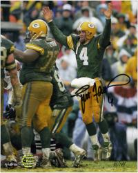 "Brett Favre Green Bay Packers Autographed 8"" x 10"" Jumping Up Photograph"