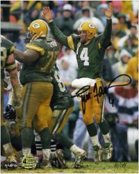 "Brett Favre Green Bay Packers Autographed 8"" x 10"" Jumping Up Photograph"