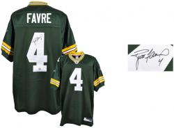 Brett Favre Green Bay Packers Autographed Reebok Authentic Green Jersey - Mounted Memories