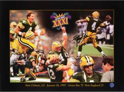 Brett Favre Green Bay Packers Super Bowl XXXI Autographed 18'' x 24'' Collage Photograph with SBXXXI Champs Inscription - Mounted Memories
