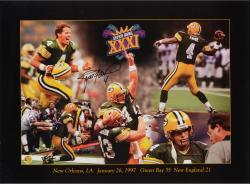 Brett Favre Green Bay Packers Super Bowl XXXI Autographed 18'' x 24'' Collage Photograph - Mounted Memories