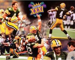 Brett Favre Green Bay Packers Super Bowl XXXI Autographed 16'' x 20'' Photograph with SB XXXI Champs Inscription - Mounted Memories