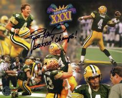 Brett Favre Green Bay Packers Super Bowl XXXI Champions Autographed 8'' x 10'' Photograph with SB XXXI Champs Inscription - Mounted Memories