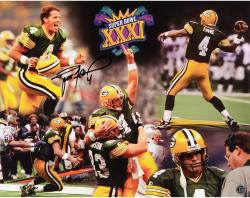 Brett Favre Green Bay Packers Autographed 16'' x 20'' Super Bowl Photograph - Mounted Memories