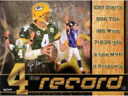 Brett Favre Green Bay Packers Autographed 18'' x 24'' The Record Photograph - Mounted Memories