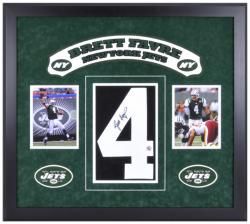 New York Jets Brett Favre Autographed Jersey and Photo - Mounted Memories