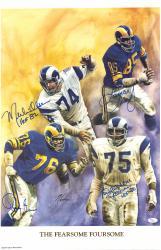 """Rosey Grier, Deacon Jones, Lamar Lundy & Merlin Olsen Los Angeles Rams Autographed 19"""" x 26"""" Lithograph"""