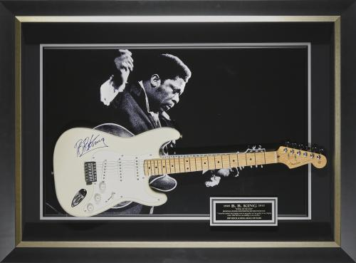 Features a Fender Stratocaster guitar signed by B.B. King Framed 49x33x5