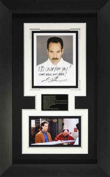 "Features signed Soup Nazi ""No Soup For You"" from Seinfeld"