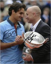 "Roger Federer & Andre Agassi Dual Autographed 8"" x 10"" 2009 French Open Photograph"