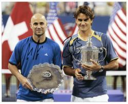 "Roger Federer & Andre Agassi Dual Autographed 8"" x 10"" Trophys Photograph"