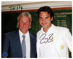 "Roger Federer & Bjorn Borg Dual Autographed 8"" x 10"" Wimbledon Photograph"
