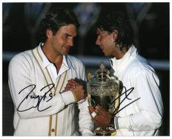 "Roger Federer & Rafael Nadal Dual Autographed 8"" x 10"" 2008 Wimbledon Photograph"