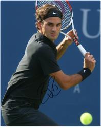 "Roger Federer Autographed 8"" x 10"" Back Swing Black Shirt Photograph"
