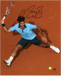 """Roger Federer Autographed 8"""" x 10"""" Clay Shot Photograph"""
