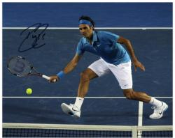 "Roger Federer Autographed 8"" x 10"" Nike Blue Shirt Headband Photograph"