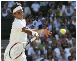 "Roger Federer Autographed 8"" x 10"" Horizontal White Swing Photograph"