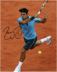 """Roger Federer Autographed 8"""" x 10"""" Light Blue Red Nike On Clay Photograph"""