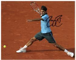 "Roger Federer Autographed 8"" x 10"" Light Blue Split On Clay Photograph"