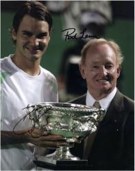 """Roger Federer & Rod Laver Dual Autographed 8"""" x 10"""" Trophys Photograph"""