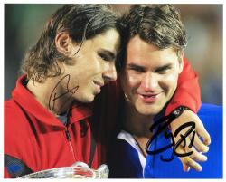 "Roger Federer & Rafael Nadal Dual Autographed 8"" x 10"" Hugs Tears Photograph"