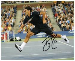 "Roger Federer Autographed 8"" x 10"" Black Shirt Shorts Photograph"