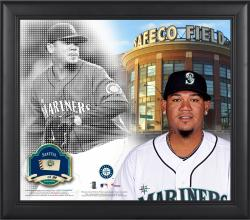 """Felix Hernandez Seattle Mariners Framed 15"""" x 17"""" Mosaic Collage with Game-Used Baseball-Limited Edition of 99"""
