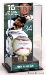 "Felix Hernandez Seattle Mariners Streak Of Two Or Fewer Runs In At Least Seven Innings Gold Glove 10"" x 5.5"" Baseball Display Case"