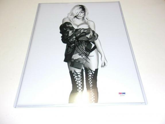 Fergie Black Eyed Peas Singer White Orchid Model Psa/dna Signed 11x14 Photo