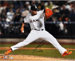 Jose Fernandez Miami Marlins Autographed 16'' x 20'' Orange Cleats Photograph with 2013 NL ROY Inscription - Mounted Memories