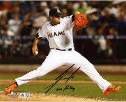"Jose Fernandez Miami Marlins Autographed 8"" x 10"" Orange Cleats Photograph with 2013 NL ROY Inscription"