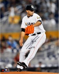 Jose Fernandez Miami Marlins Autographed 16'' x 20'' Slide-Step Photograph with 2013 NL ROY Inscription - Mounted Memories