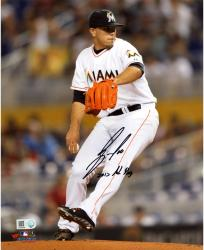 Jose Fernandez Miami Marlins Autographed 8'' x 10'' Slide-Step Photograph with 2013 NL ROY Inscription - Mounted Memories