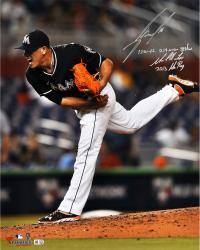 Jose Fernandez Miami Marlins Autographed 16'' x 20'' Follow Thru Photograph with Multiple Inscriptions - Limited Edition of 16 - Mounted Memories